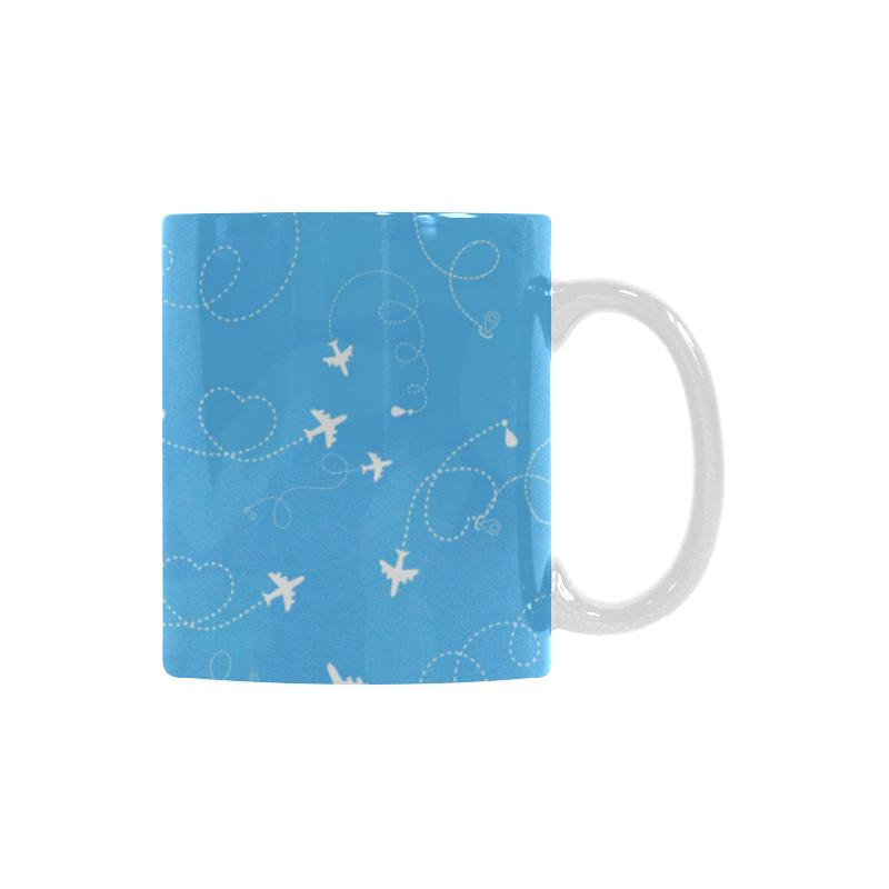 Airplane Pattern Blue Backgroung Classical White Mug (FulFilled In US)