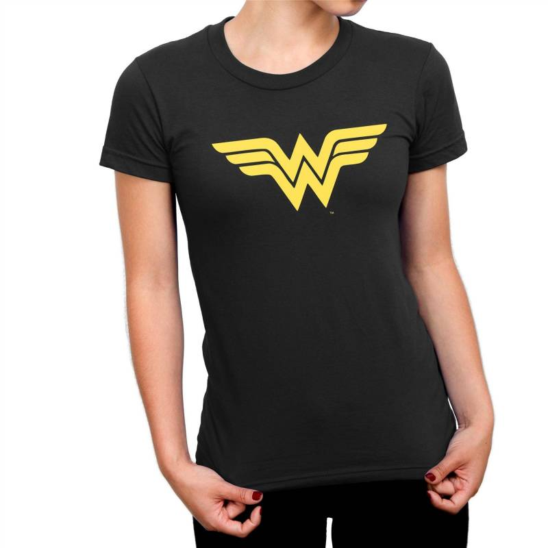 Wonder Woman Classic Gold Logo Ladies Black T-Shirt