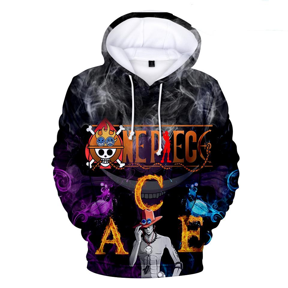 One Piece Hoodies - One Piece Series Anime One Piece ACE Poster Super Cool Hoodie