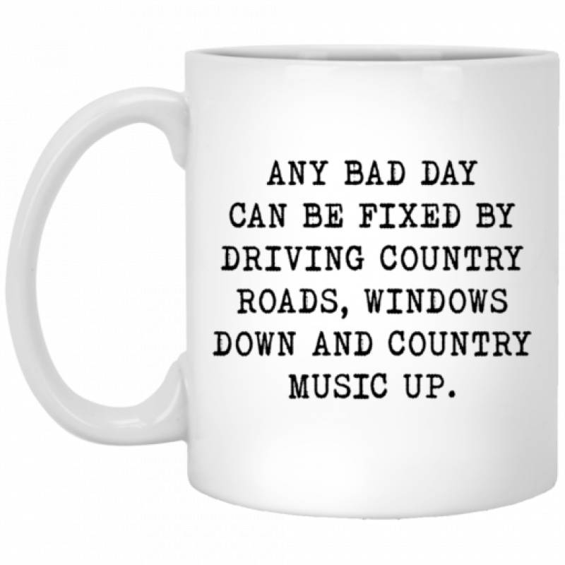 Any bad day can be fixed by driving country roads mug