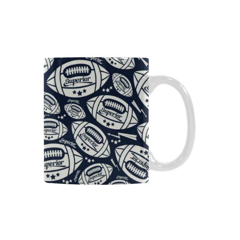 American Football Ball Pattern Classical White Mug (FulFilled In US)
