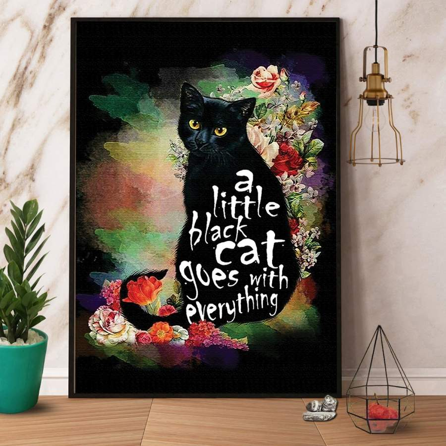 A little black cat goes with everything paper poster no frame/ wrapped canvas wall decor full size