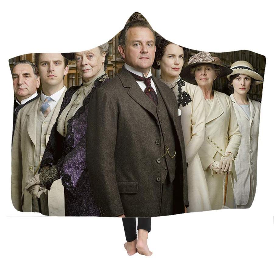 2019 Downton Abbey Hooded Blanket Jacket Soft Plush Sherpa Blanket with 3D Printed Pattern