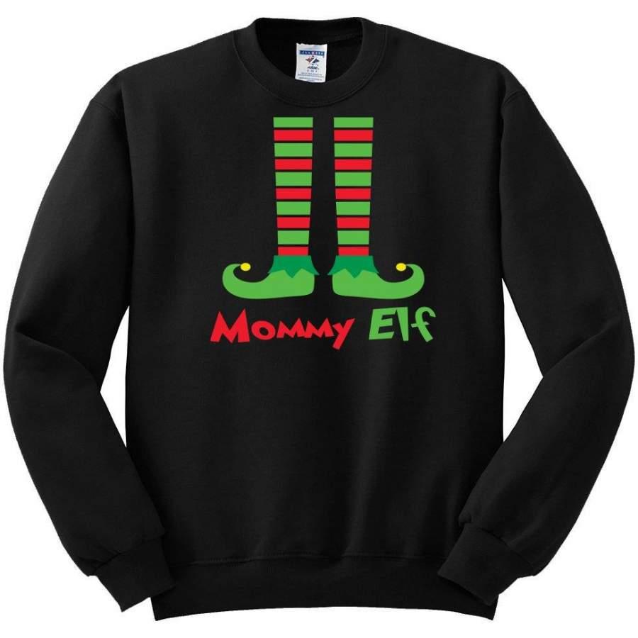 Mommy Elf Shoes | Mens Christmas Crewneck Sweatshirt