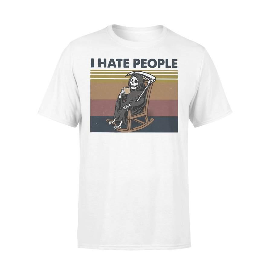 I Hate People Grim Reaper Skeleton Drinking Coffee Vintage Retro T-shirt