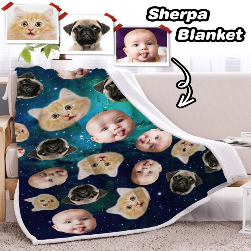 Personalized Many Face Sherpa Blanket