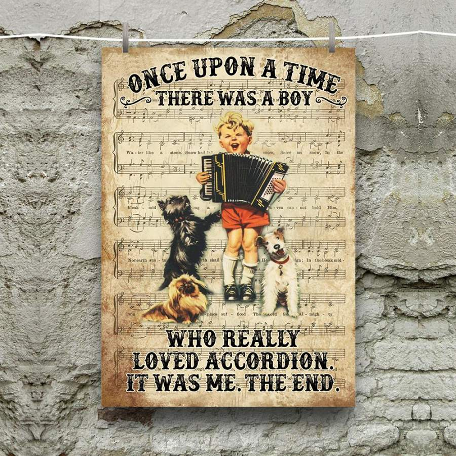 A Boy Loved Accordion Music Instrument Vertical Poster