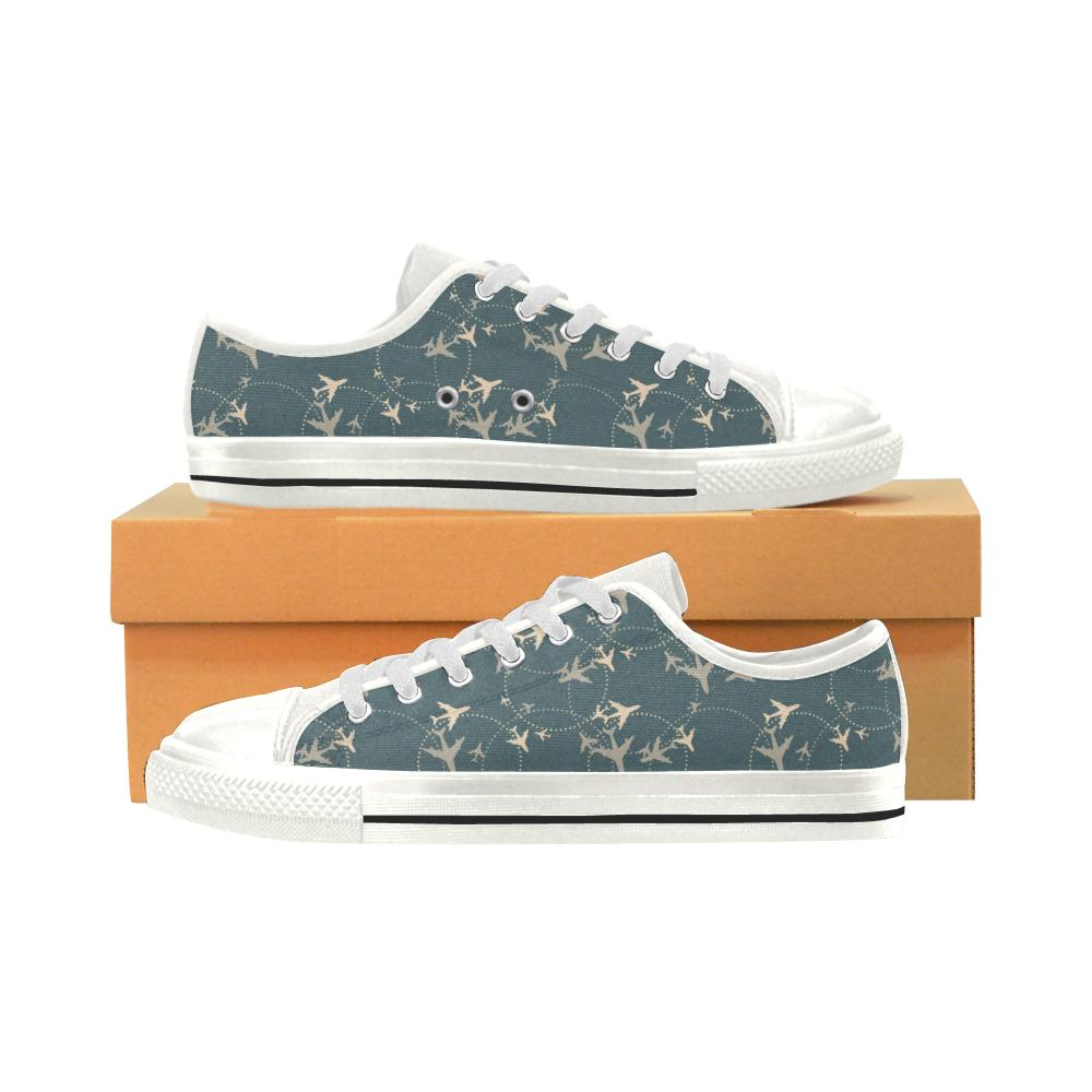 Airplane Circle Pattern Women's Low Top Shoes White