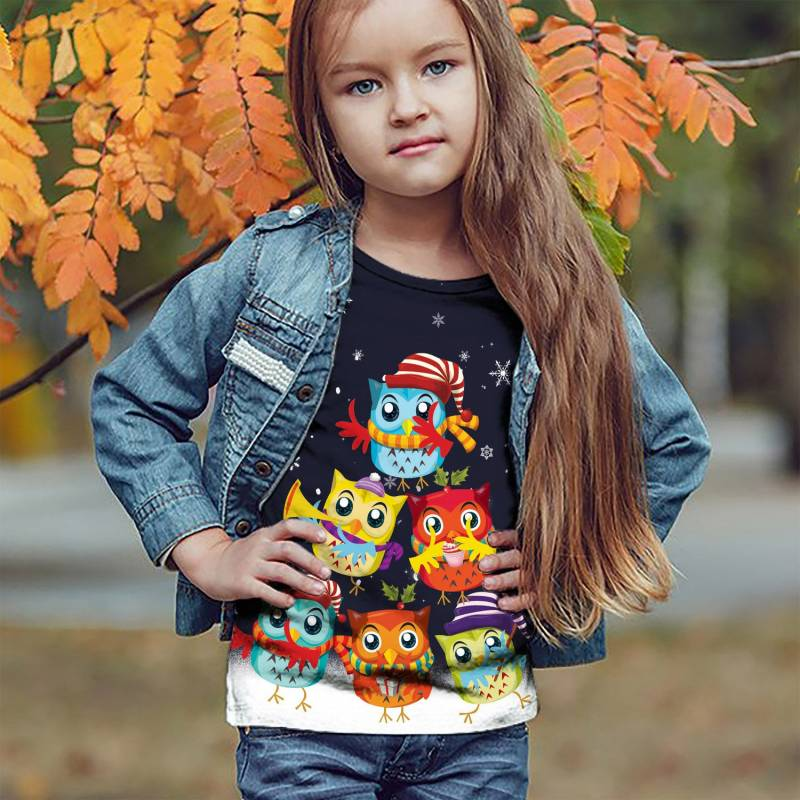 Owl Christmas Tree T1609 - All Over Print Holiday Kid Sweater