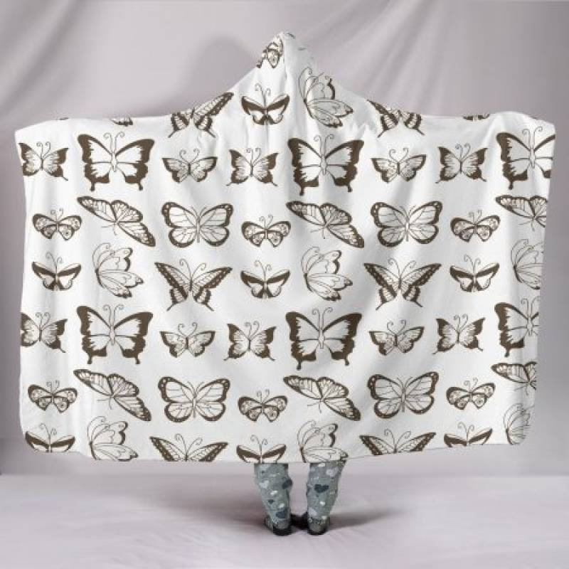 Customised Hoodie Blanket Sepia Butterflies