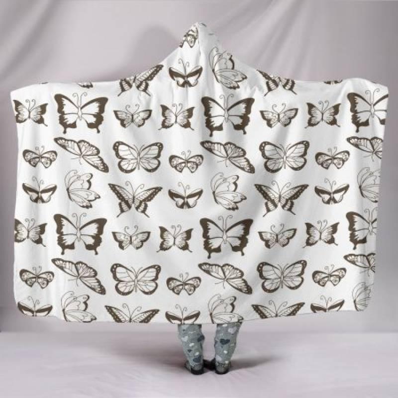 Customised Hoodie Blanket Sepia Butterflies