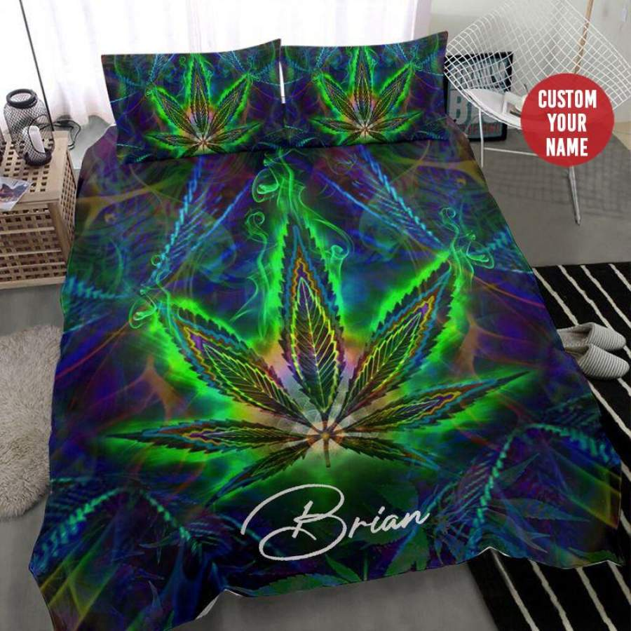 Weed Colorful Light Custom Name Duvet Cover Bedding Set #1509H