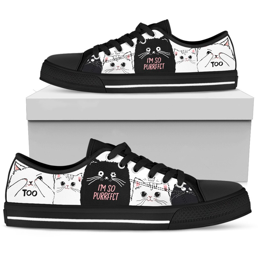 """I'm So Purrfect"" Cat Women's Low Top Shoes"