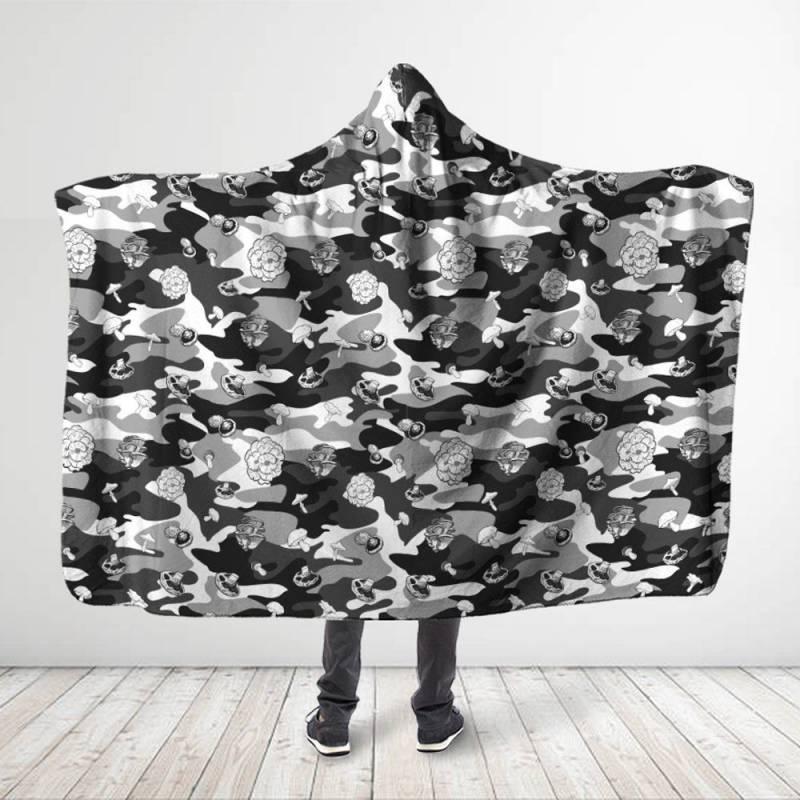 Black Camo Mushroom Hooded Blanket 3918