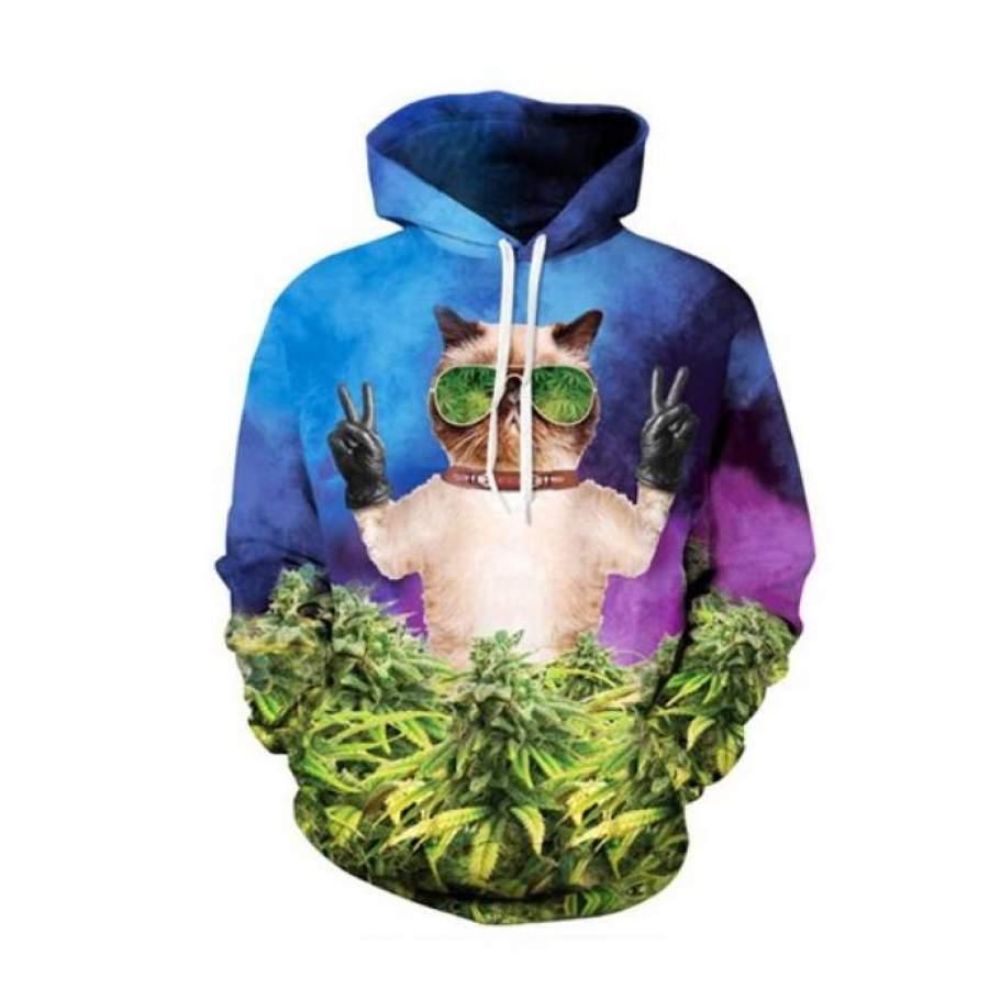 420 cat 3D hoodie GST
