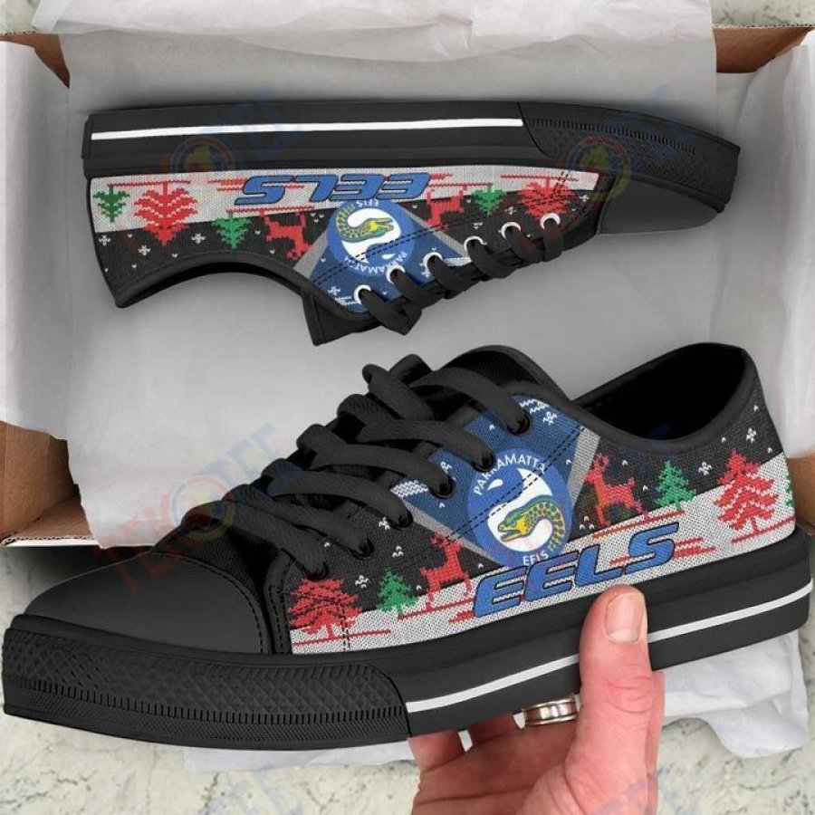 Mens Womens Christmas Parramatta Eels Nrl Low Top Shoes Custom Print Footwear Convers Sneakers TMT559