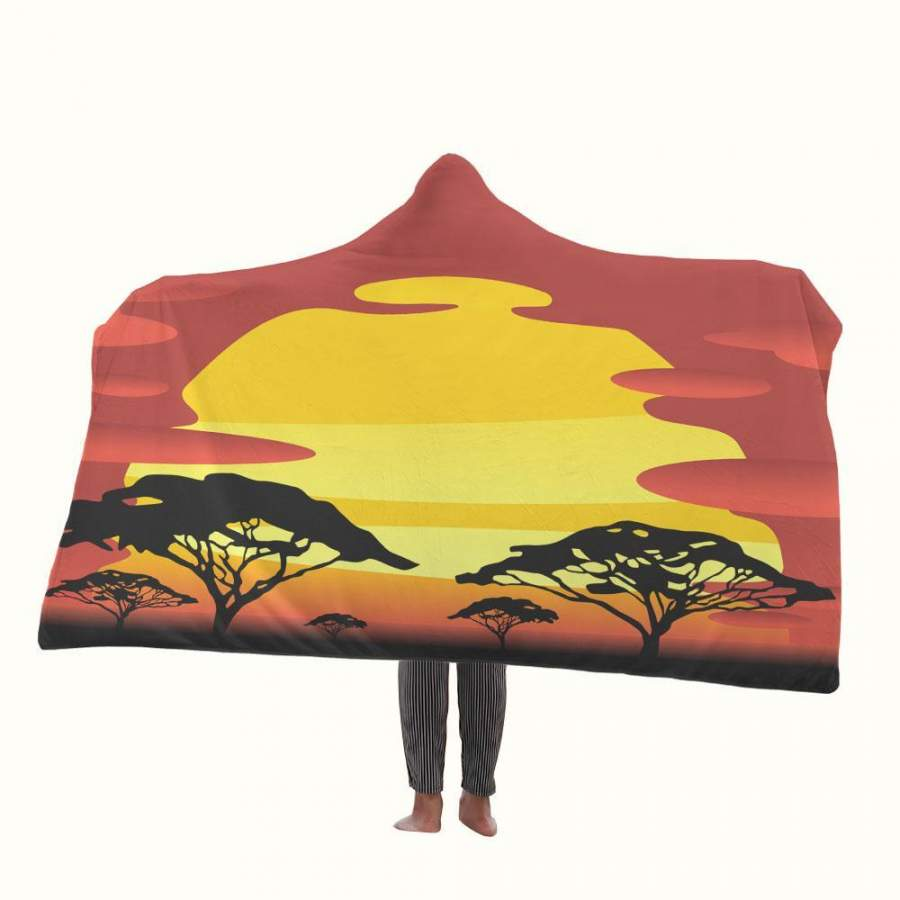 African Sunset Hooded Blanket