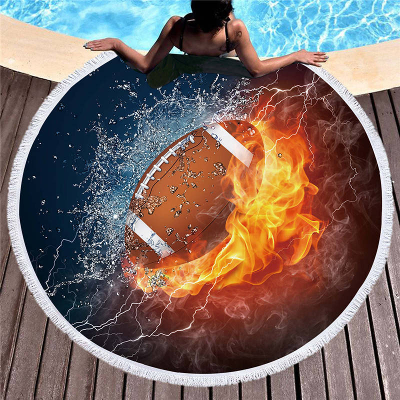 Fire and Water Rugby / Football Beach Towel
