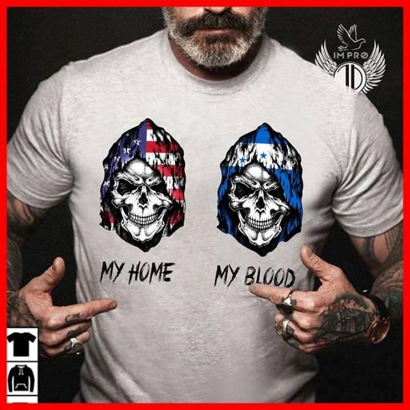 Skulls flag America is my home honduras is my blood  t shirt