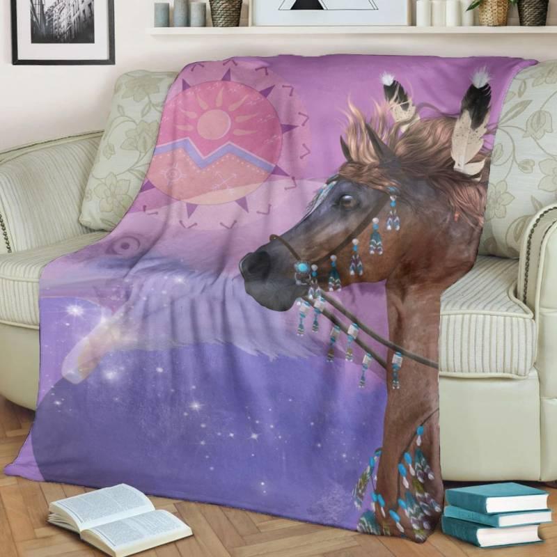 Native American Blanket - Native Horse Pink Style - BN01