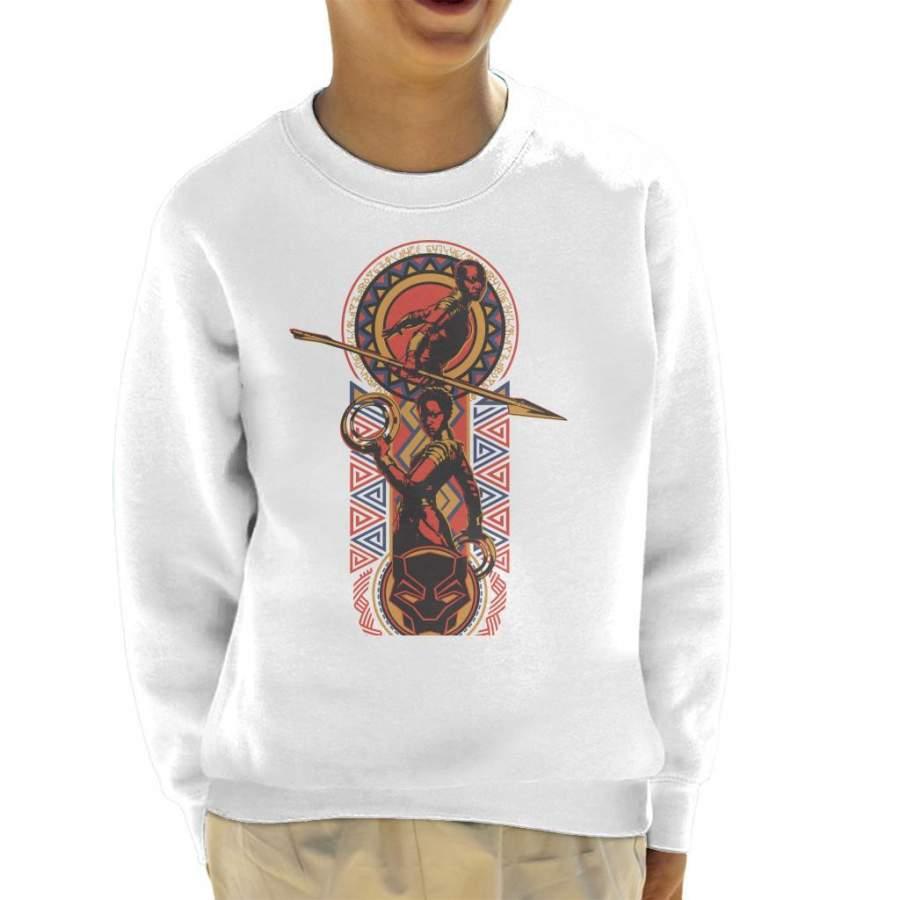 Marvel Black Panther Nakia And Okoye African Style Art Kid's Sweatshirt - T-Shirt Store