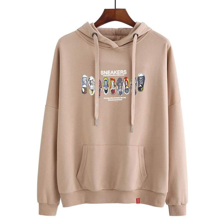Lightweight athletic hoodie for Girl Shoes Print hoodie ideal present
