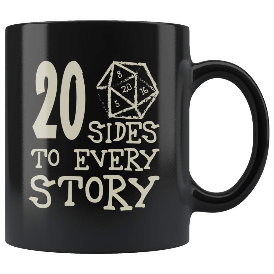 20 Sides To Every Story Mug - Funny Twenty Sided Dice D20 D1 Critical Hit DND RPG Coffee Cup