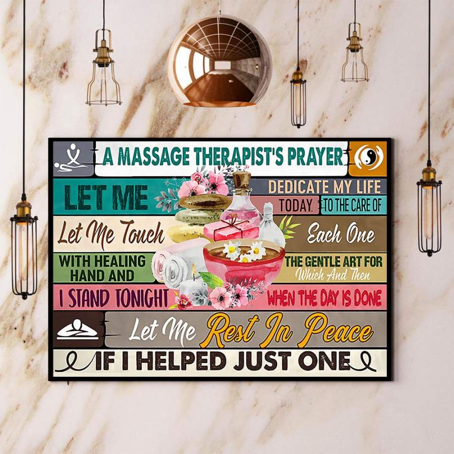 A massage therapist's prayer let me rest in peace paper poster no frame/ wrapped canvas wall decor full size