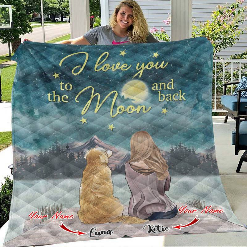 Ligerking™ Girl and Dogs - I love you to the moon and back Quilt Blanket 04324