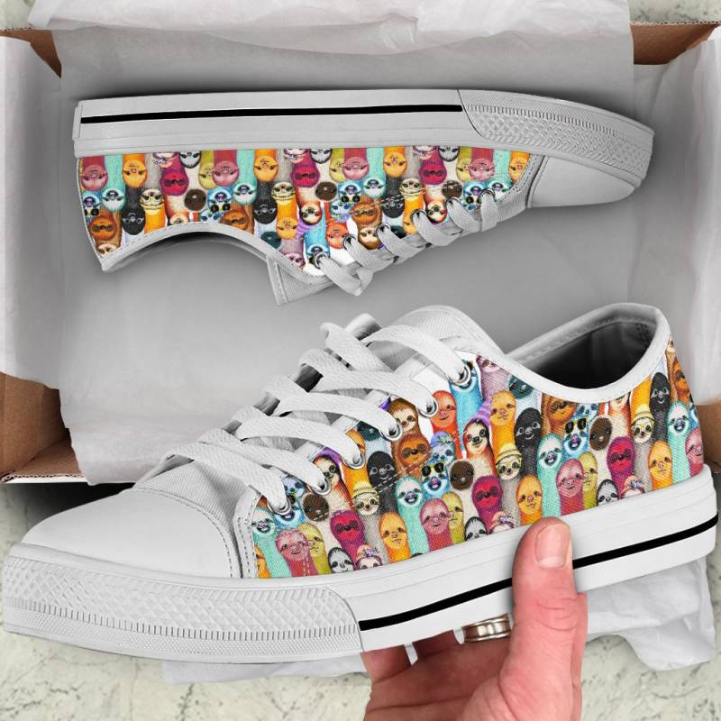 Ligerking™ Sloth Family White Low Top Shoes HD02608