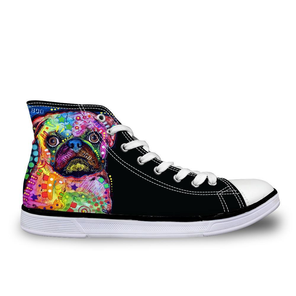 Amazing Colorful  High Top Women 3D Dog Print Shoes