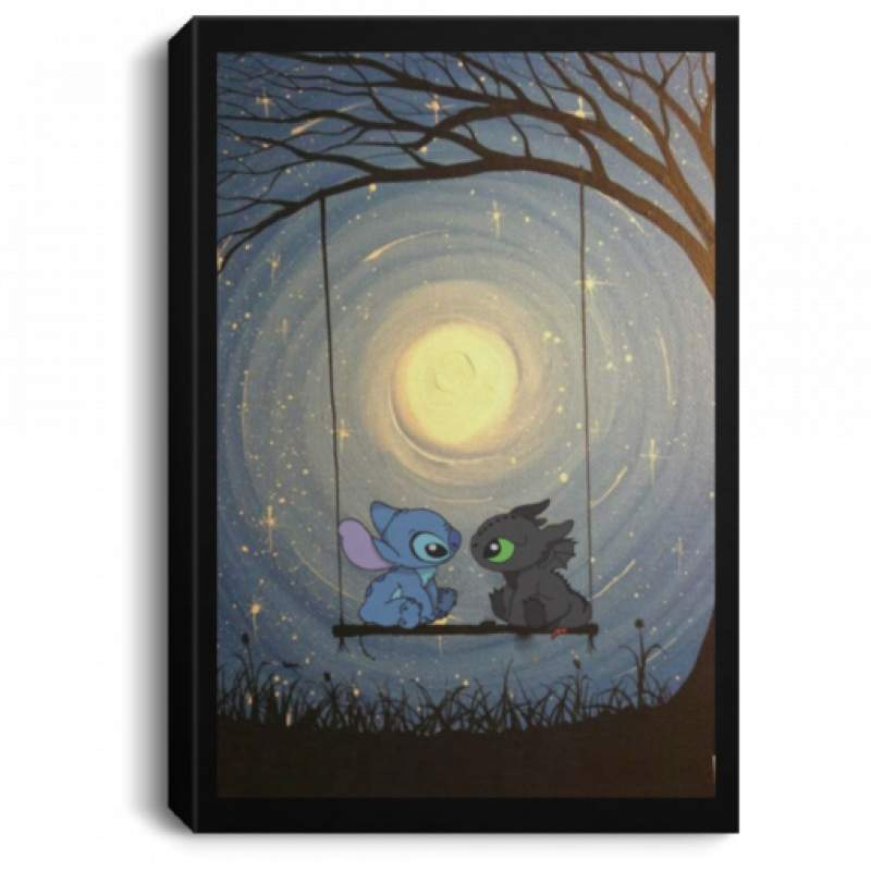 Stitch and Toothless night moon poster, canvas