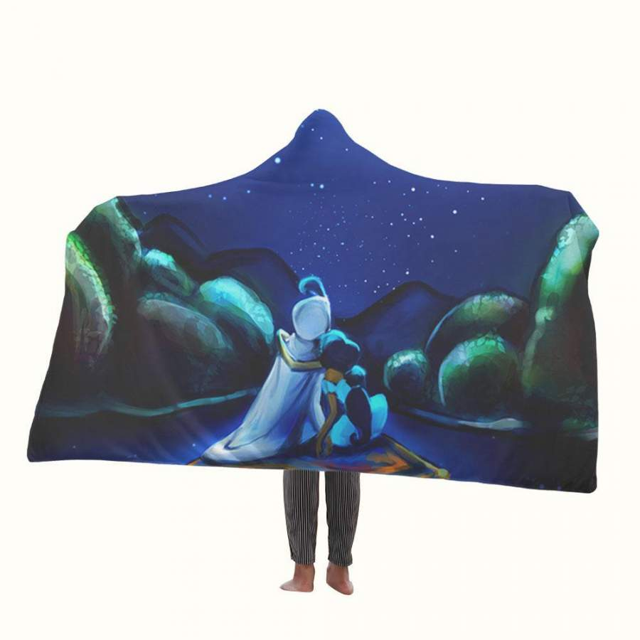 Aladdin and Jasmine Art Hooded Blanket
