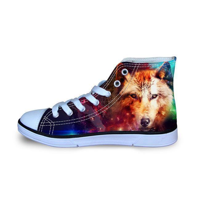 3D Wolf Printed Women Canvas Lace Up Shoes