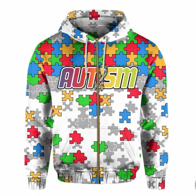 Colorful Puzzle, Autism Zip Hoodie K5 09052020