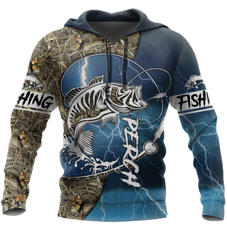 Perch Fishing huk up all Printing Shirts for men and women Blue color TR021202