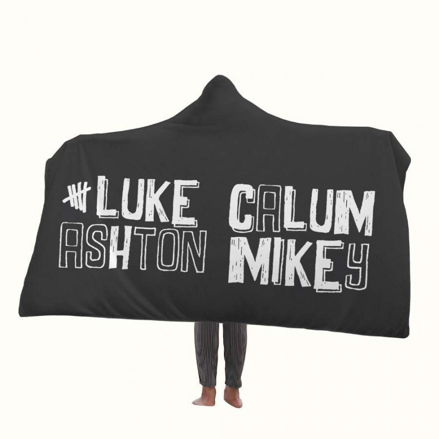 5SOS Luke Ashton Calum Mikey Hooded Blanket