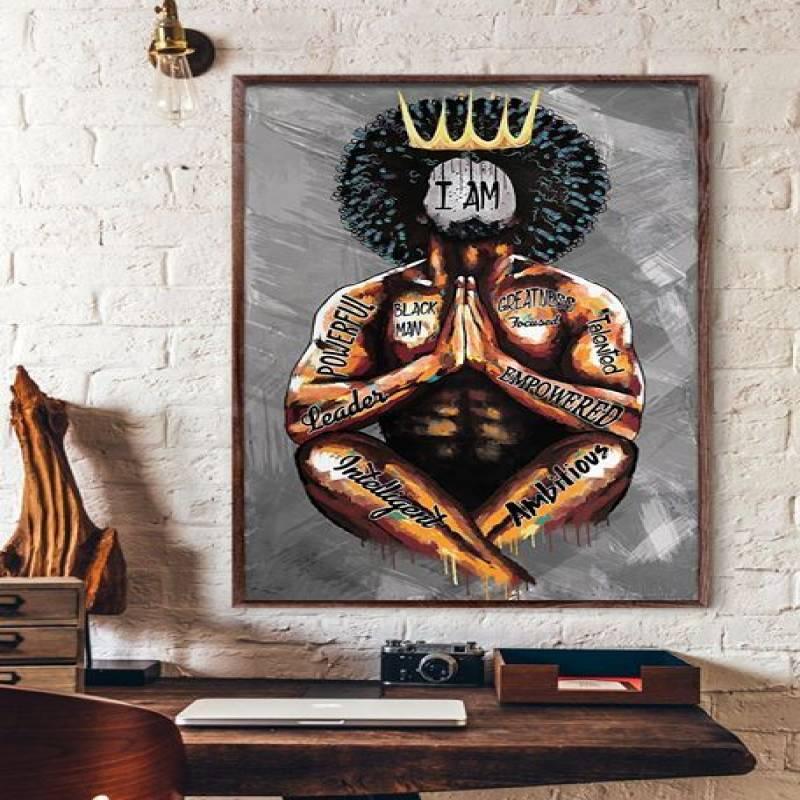 Black King Praying I Am - Unframed Vertical Poster