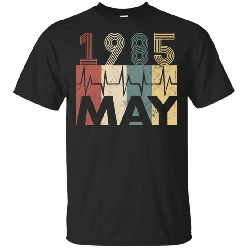 Vintage Heartbeat May 1985 Birthday Gift Men Women T Shirt Mn03