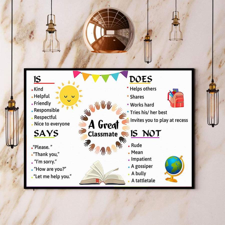 A great classmate teacher paper poster no frame/ wrapped canvas wall decor full size