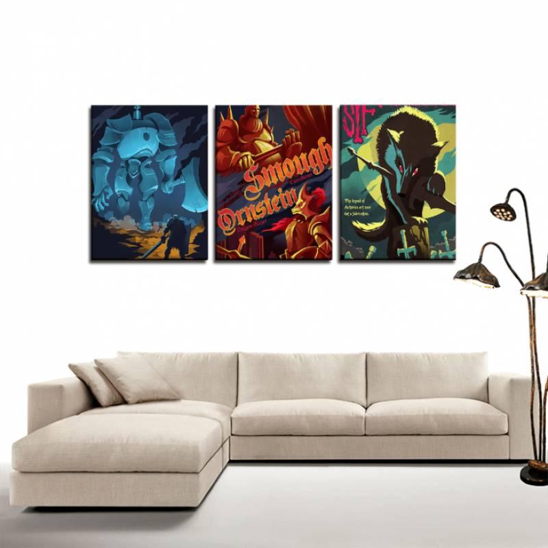 Dark Souls Gaming Retro Art Poster 3pc Canvas Wall Art Decor