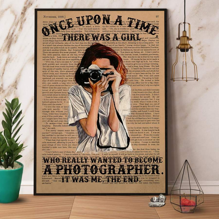 A Girl Who Really Wanted Become A Photographer Paper Poster No Frame/ Wrapped Canvas Wall Decor Full Size