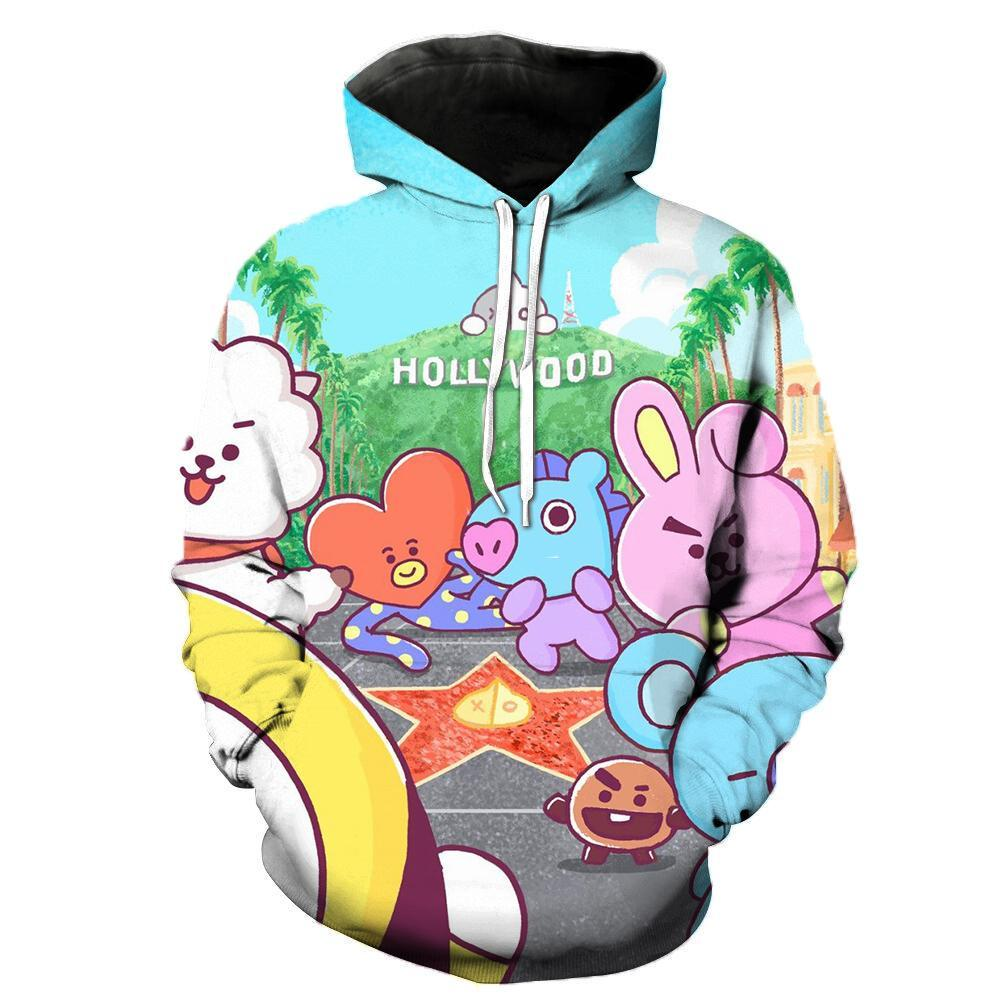 2019 BTS BT21 Pullover Hoodie Sweatshirt Dec Series Hollywood For Kids