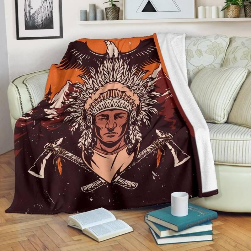 Native American Indian Warrior Premium Blanket - Vintage Wild - BN11