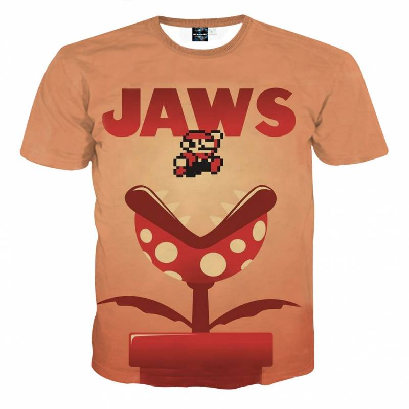 Super Mario Jaws Parody Poster Funny Streetwear T-Shirt