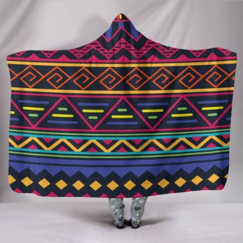 Customised Hoodie Blanket Red and Blue Tribal Pattern