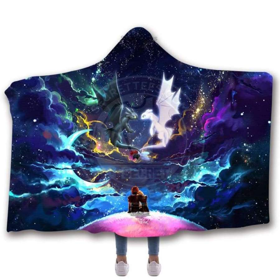 Dragons Colorful Night Love Story Hooded Blanket