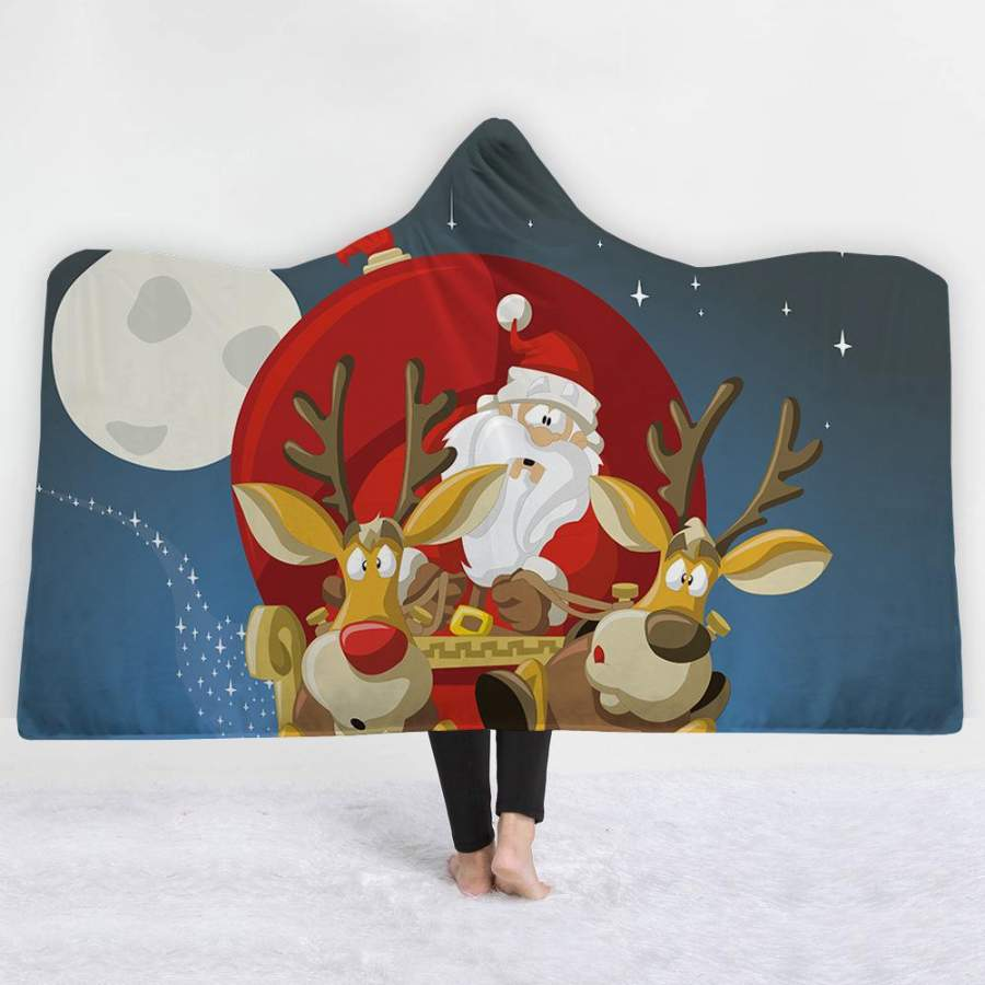 2019 Christmas Hooded Blanket Soft Plush Sherpa Blanket with 3D Printed Pattern for Xmas and New Year For Adult And Kids