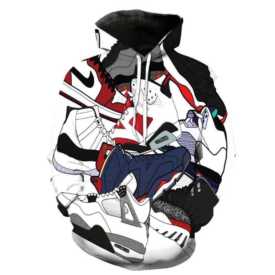 Jordan Shoes Collage Hoodie Unisex 3D All Over Print
