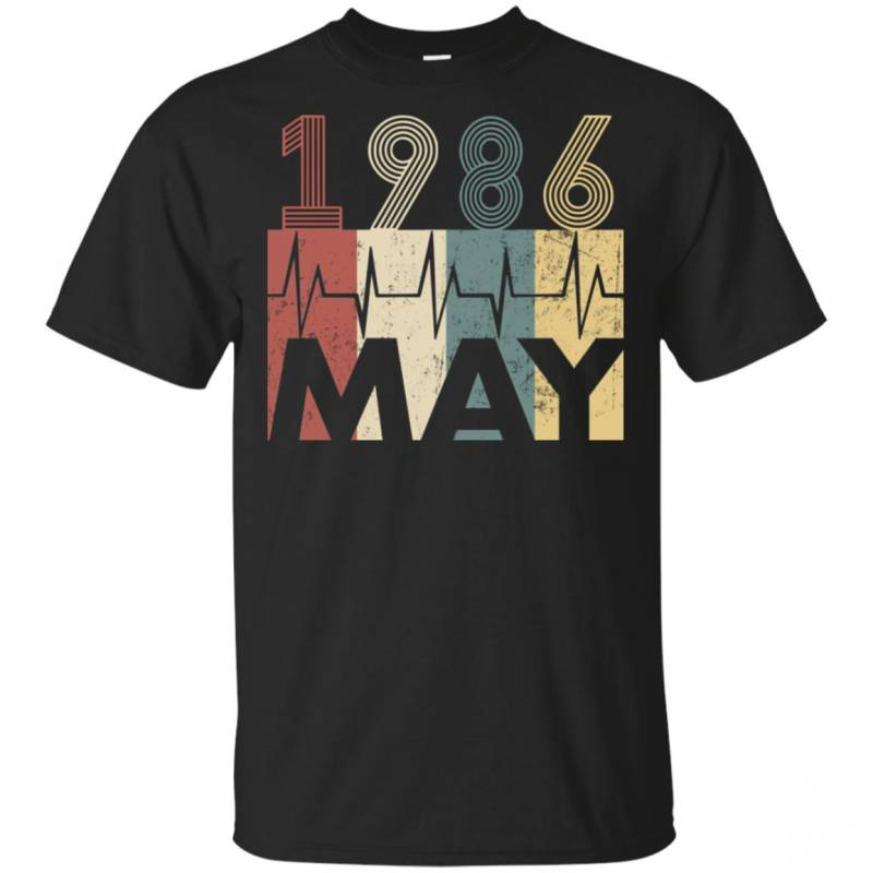 Vintage Heartbeat May 1986 Birthday Gift Men Women T Shirt Mn03